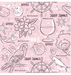 seamless patterns with summer symbolsship vector image