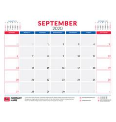September 2020 calendar planner stationery design vector