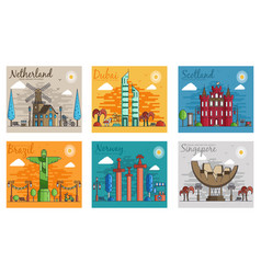 Set different cities for travel destinations vector