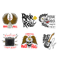 set rock and roll music symbols with guitar vector image