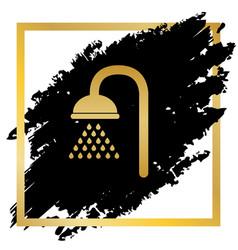 Shower sign golden icon at black spot vector