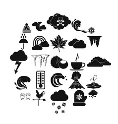 sky icons set simple style vector image