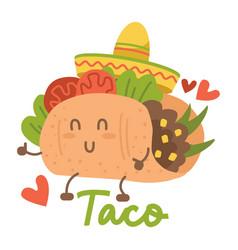 smiling kawaii eyed taco dancing mexican sombrero vector image