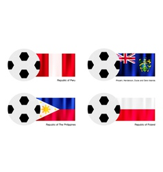 Soccer Ball with Peru Pitcairn Islands Flag vector image