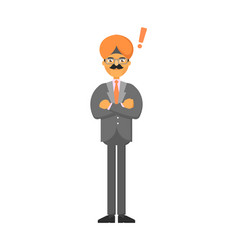 standing indian businessman with hands folded vector image