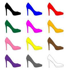 Stiletto heel shoe icons vector