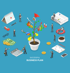 Succesfull business plan flat isometric vector