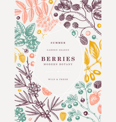 Summer berries trendy design hand drawn berry fr vector