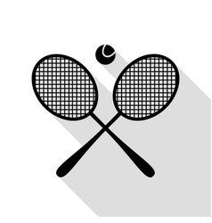 tennis racket sign black icon with flat style vector image