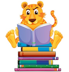 Tiger and books vector image