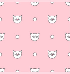 tile pattern with cats and polka dots on pink vector image