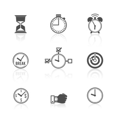 Time management clock icons set vector image