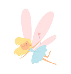 Tooth fairy flying with magic wand vector