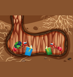 Underground scene with two ants reading book vector