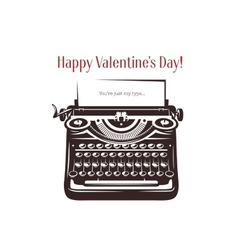 Valentine day card Vintage typewriter with text vector image