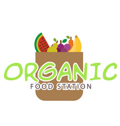 vegan food station fruit in bag background vector image