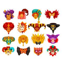 venetian carnival masquerade masks vector image