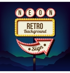 Vintage advertising road billboard with lights vector image