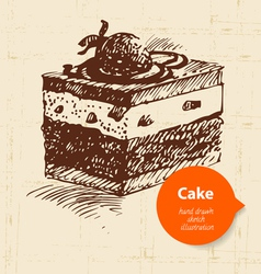 Vintage sweet cake background with color bubble vector image