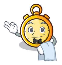 Waiter chronometer character cartoon style vector