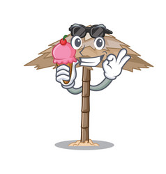 with ice cream character tropical sand beach vector image