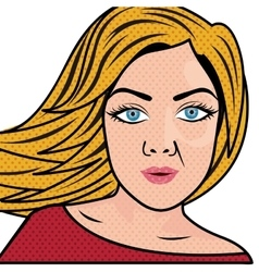woman in pop art or comic style icon image vector image