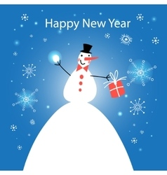 Wonderful snowman with gift vector image