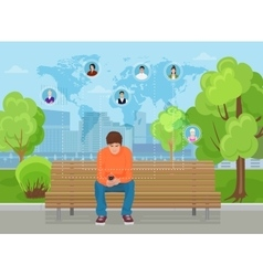 Young guy sitting in modern city street park vector