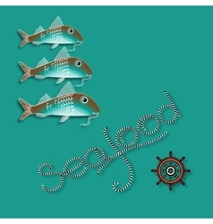 Fish nautical accessory and word Seafood vector image