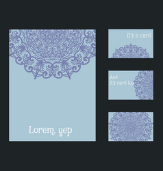 set of blank templates business cards and vector image