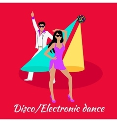 Disco and Electronic Dance Concept Flat Design vector image
