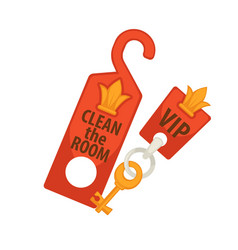 door tag with sign clean room and vip key vector image