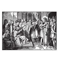 Jesus is mocked by herod before being sent back vector