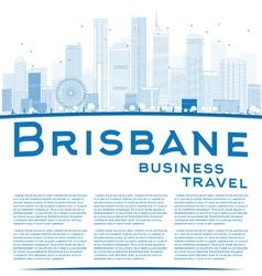 Outline Brisbane skyline with blue building vector image
