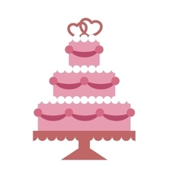 Pink wedding cake with hearts and beads flat vector image