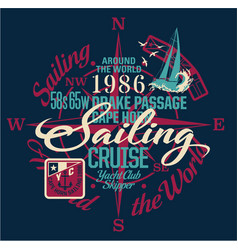 sailing around the world yacht club vector image vector image