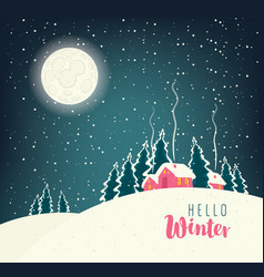 winter night landscape with snow-covered village vector image vector image