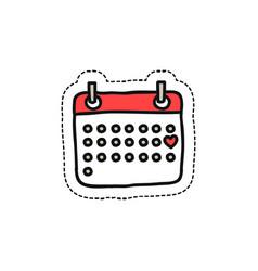 calendar february doodle icon vector image vector image