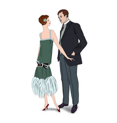 couple on party man woman in cocktail dress in vector image vector image
