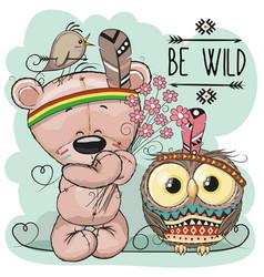 cute cartoon tribal teddy bear and owl vector image vector image