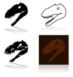 Dinosaur fossil head vector image vector image