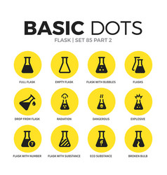 flask flat icons set vector image
