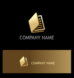 gold book document logo vector image vector image