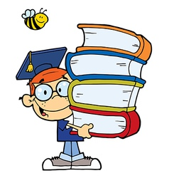 Graduation boy with books in their hands vector