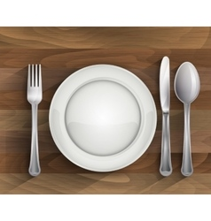 Plate spoon knife and fork on wood vector image vector image