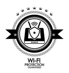 Black retro vintage label tag badge wi-fi vector image vector image