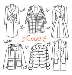 set of hand drawn women clothes coats vector image