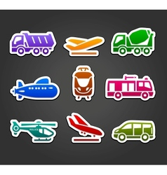 Set of stickers transport color pictograms vector image