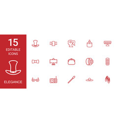 15 elegance icons vector image