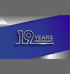 19 years anniversary silver color line style vector